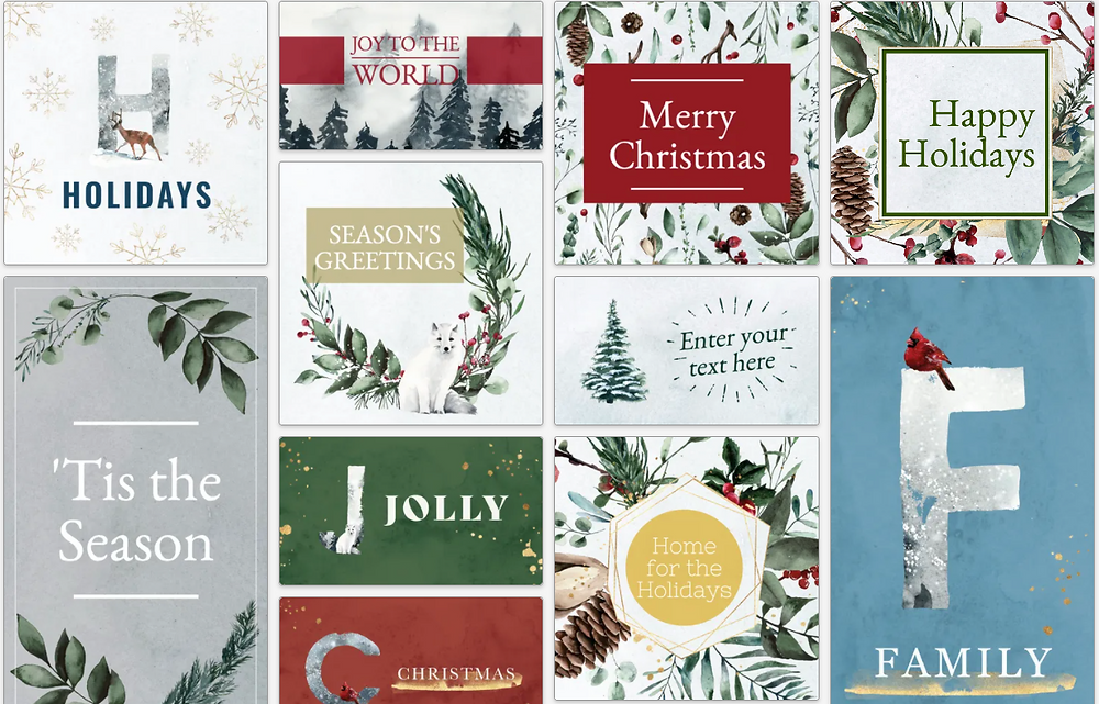 Holiday and Christmas social media post template collection