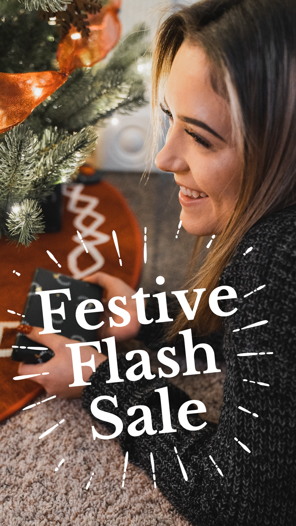 Social media story template for Instagram or Facebook with girl under Christmas tree and festive flash sale design