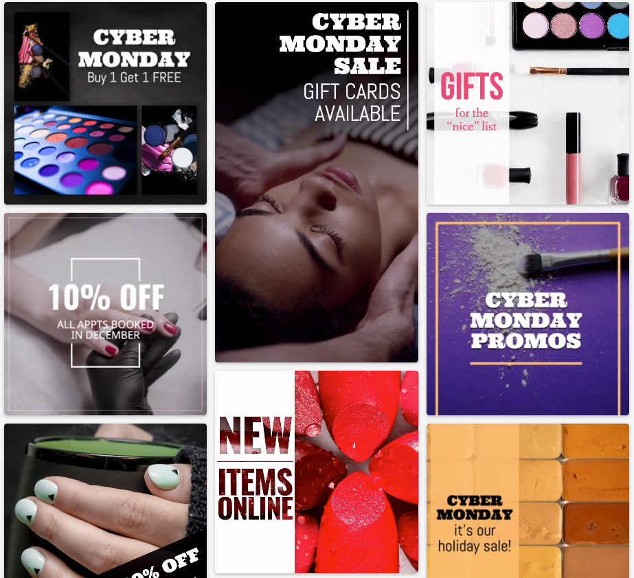 Cyber Monday beauty sale social media post templates with makeup, nails, beauty treatments, hair products, and more