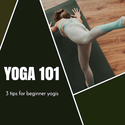 Yoga 101 social media post template with woman doing yoga