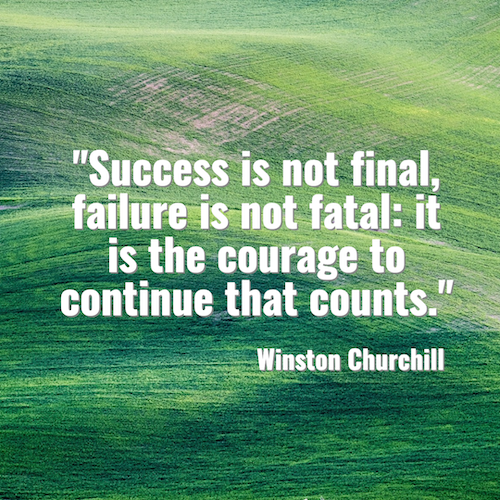 Green social media post template with Winston Churchill quote