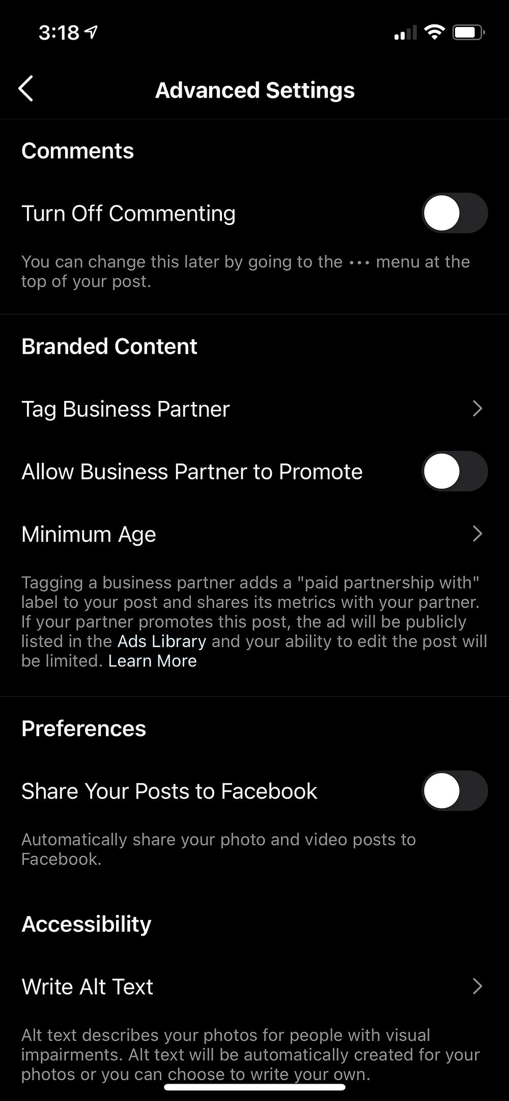 Advanced post settings on Instagram