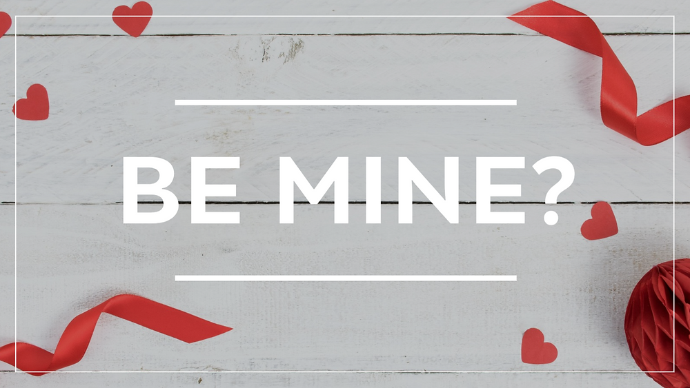 Valentine's Day Be Mine social media post template with hearts and ribbons