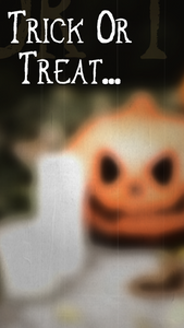Trick or treat Halloween story template for Instagram stories or Facebook stories with a creepy jack o lantern and candle
