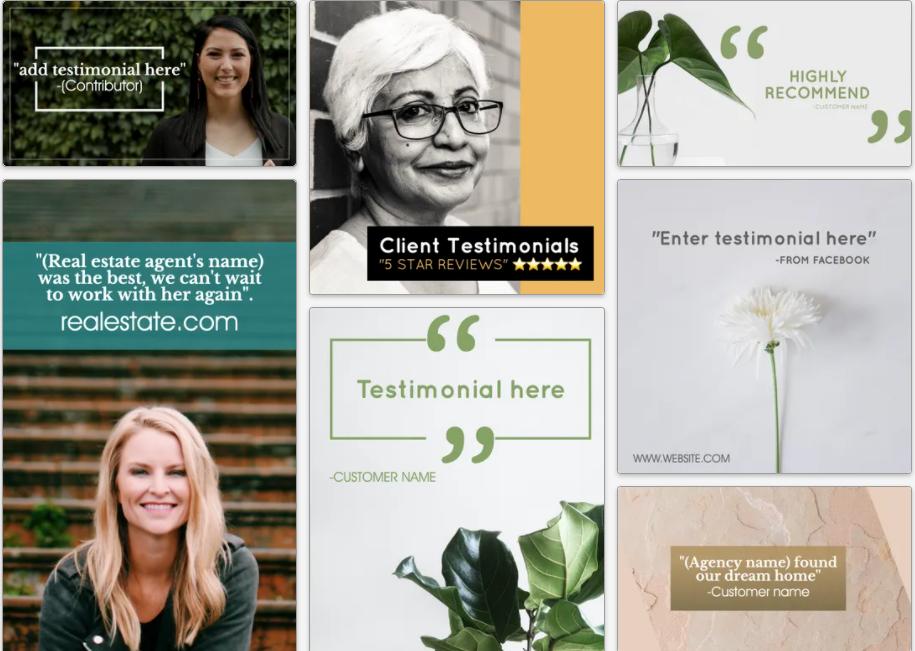 Customer testimonial and customer review social media post templates