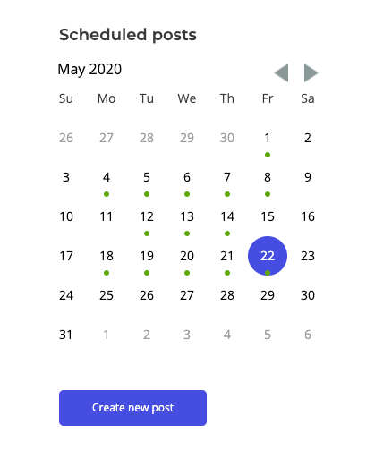 The scheduling tool in the Ripl app has a calendar where you can easily schedule your social media posts