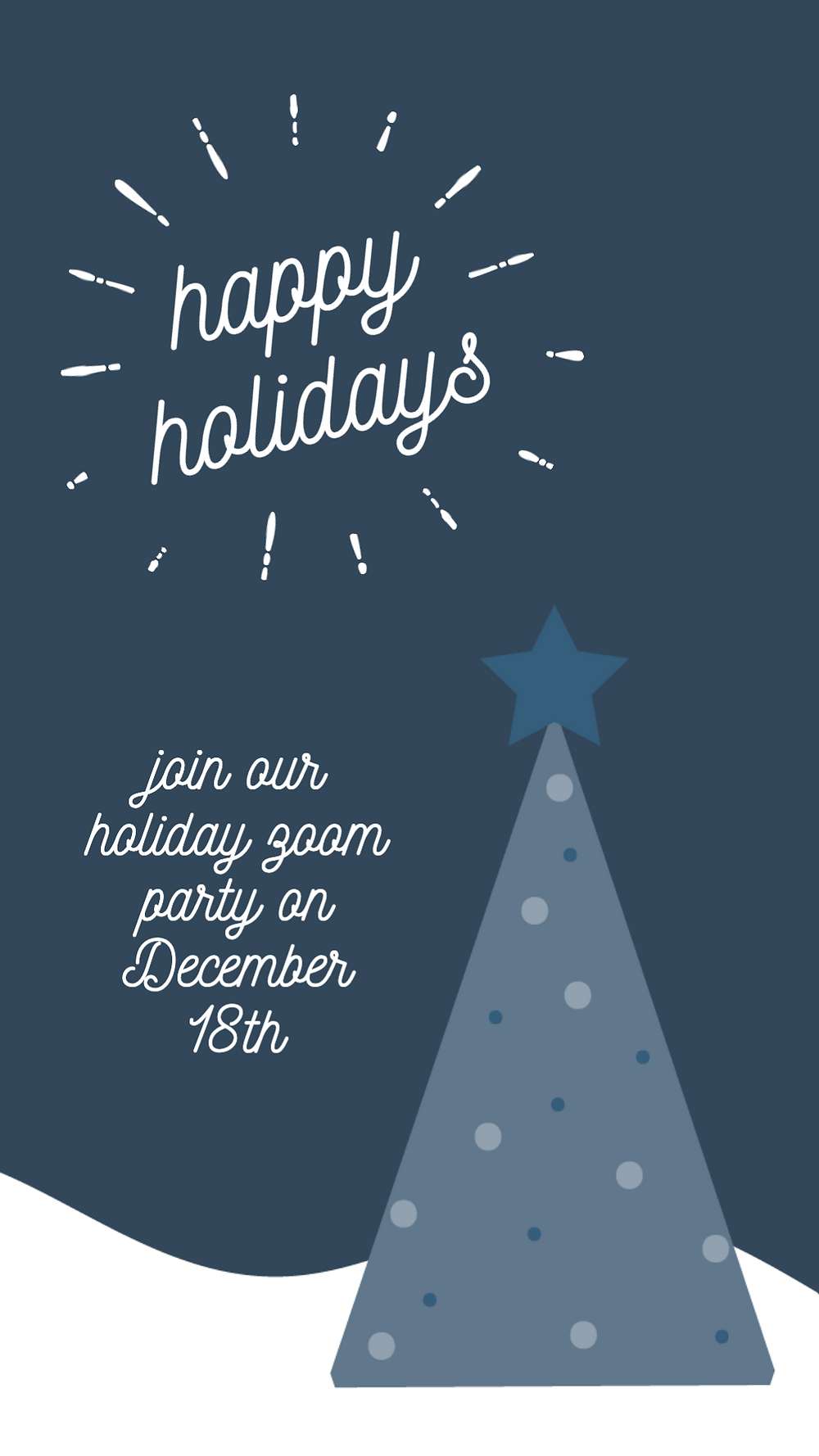 Happy holidays navy blue social media story template with Christmas tree graphic and snow