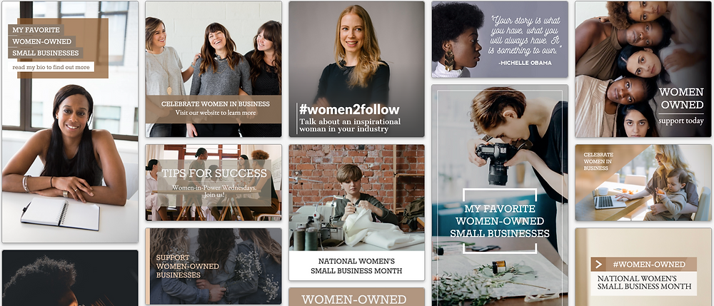 Women in business social media post template collection