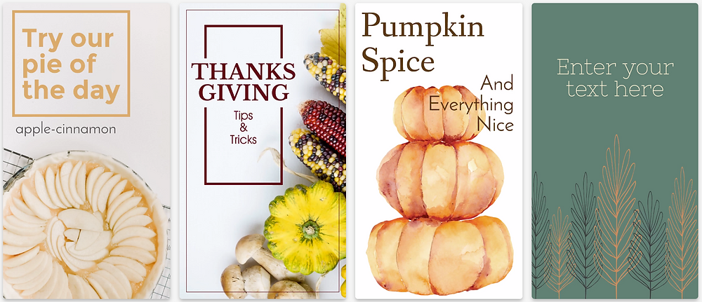 Thanksgiving themed social media stories for Instagram or Facebook with pumpkins, pie, corn on the cob, and fall leaves