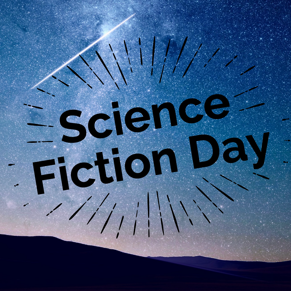 National science fiction day social media template with space and stars
