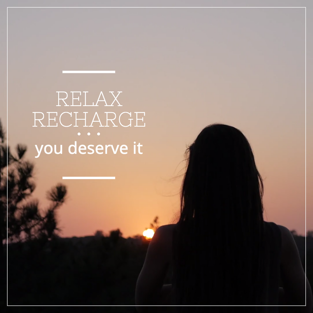 Relax recharge social media post template for wellness, spas, yoga, and more