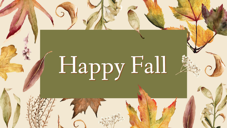 Happy Fall social media template with fall leaves and autumn colors