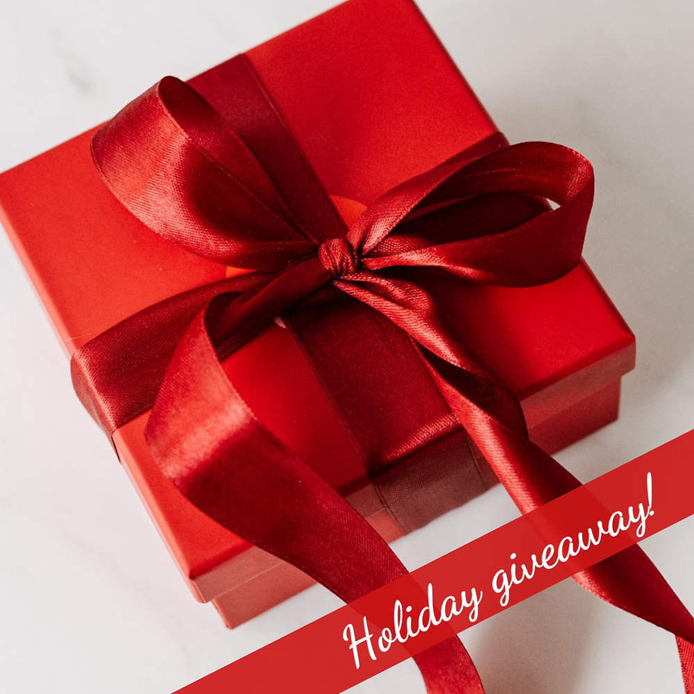 Holiday giveaway social media post template with red Christmas present wrapped with red bow