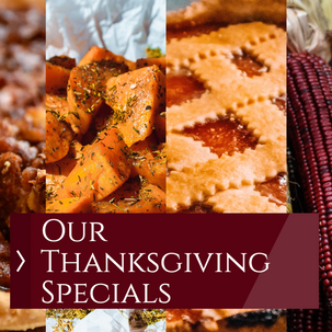 Thanksgiving specials post template for social media with maroon accent with pie and sweet potato images
