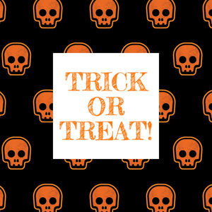 Orange and black Halloween trick or treat social media post template with skulls