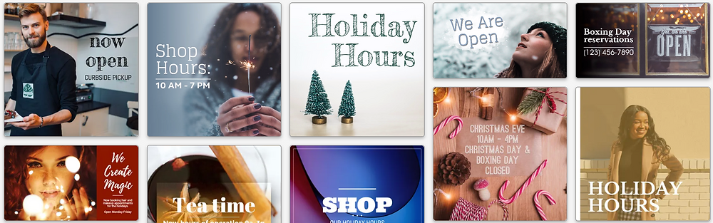 Holiday hours templates for small business social media