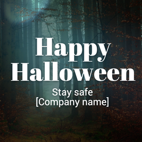 Haunted forest Happy Halloween post template for social media