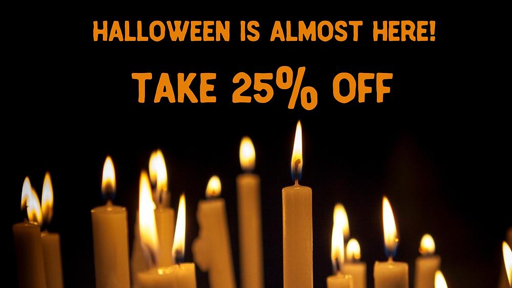 Orange Halloween candles social media post