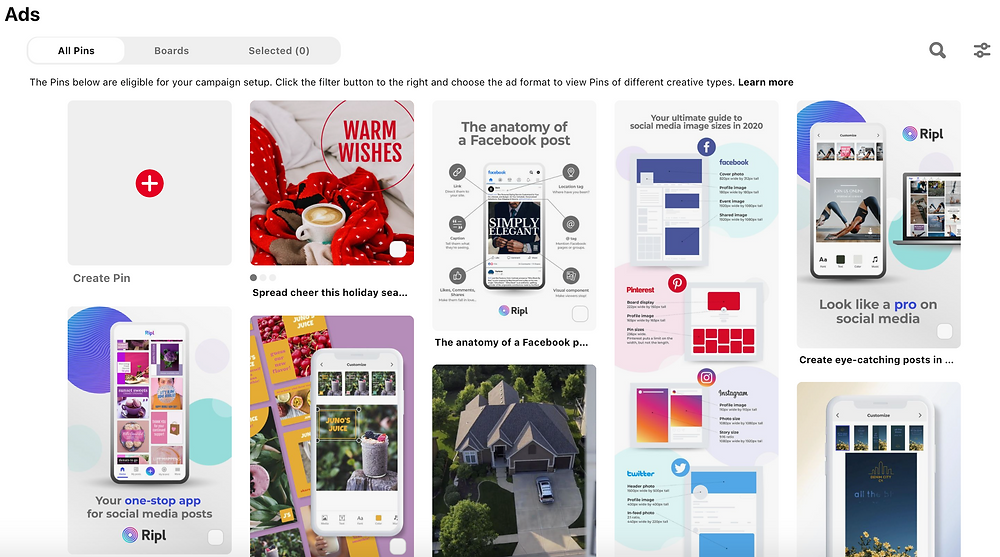 Pinterest ad feed for Ripl social media app