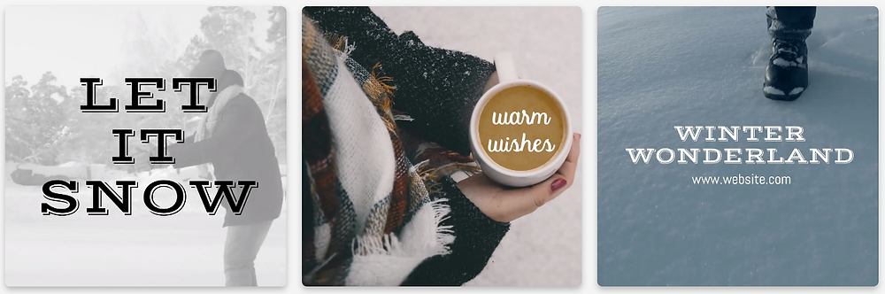 "Winter social media post templates for Instagram and Facebook with winter greetings like ""let it snow"", ""warm wishes"", and ""winter wonderland"""