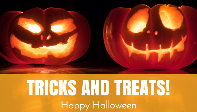 Tricks and treats Halloween pumpkin social media post template