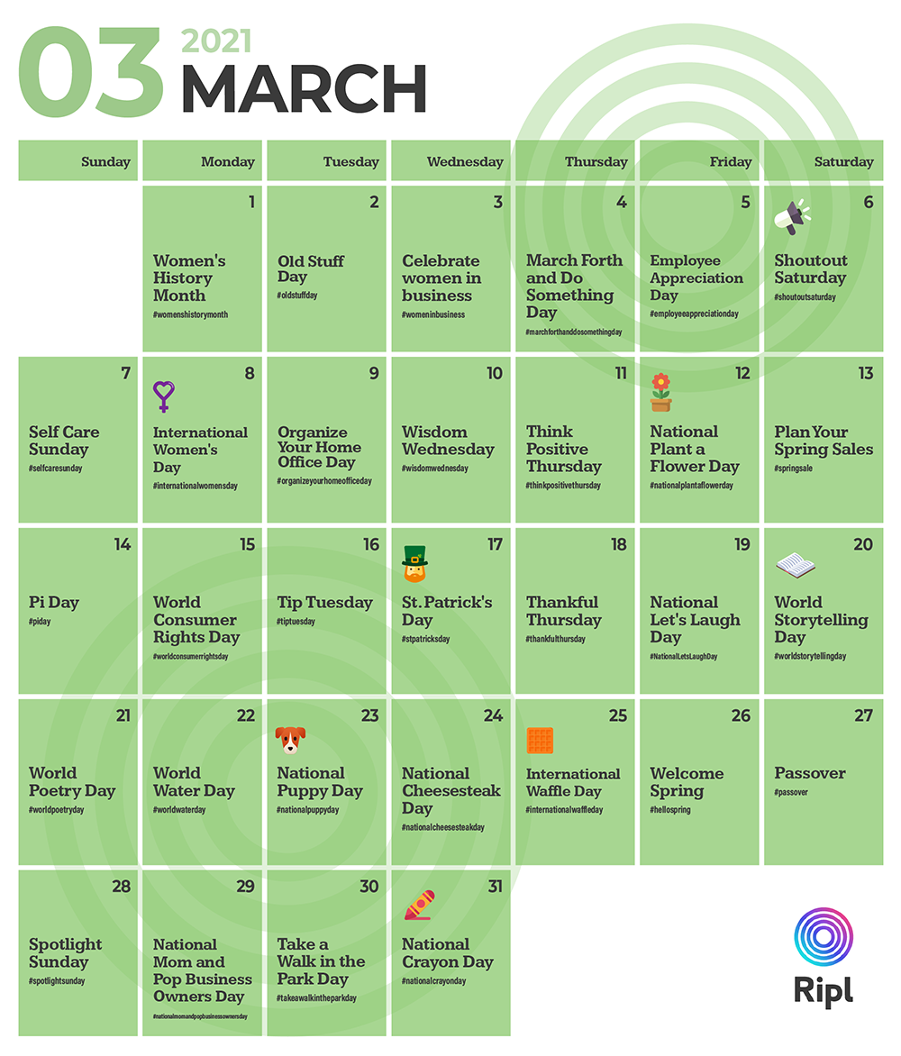 March social media holiday content calendar for March 2021
