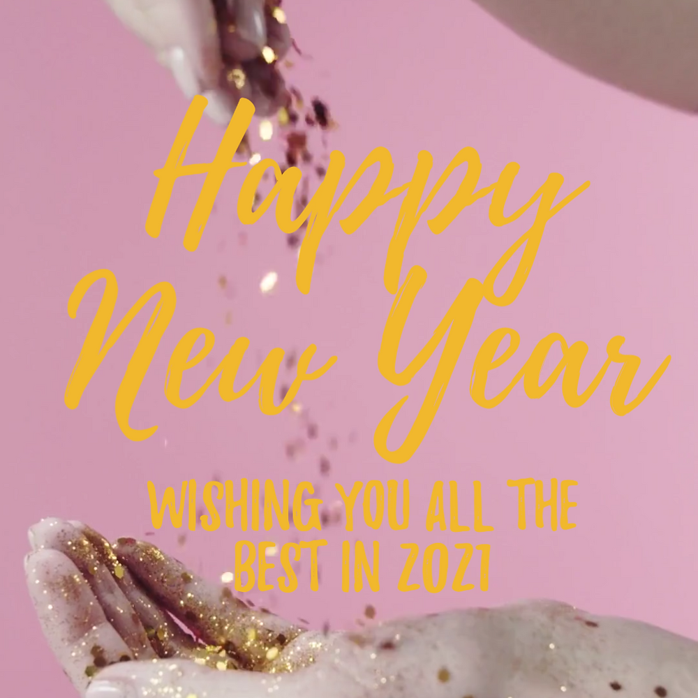 Happy New Year social media post template in pink with glitter