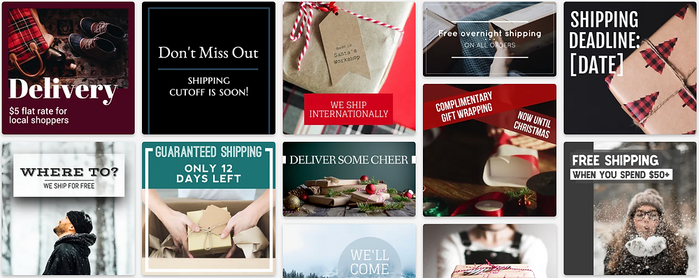 Holiday free and discounted shipping social media post templates