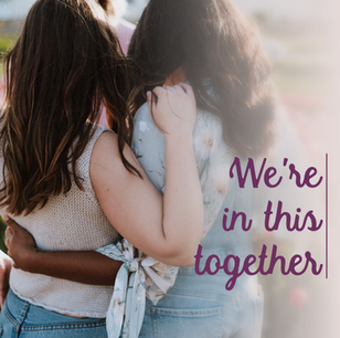 We're in this together social media post template for Breast Cancer Awareness Month with two women embracing