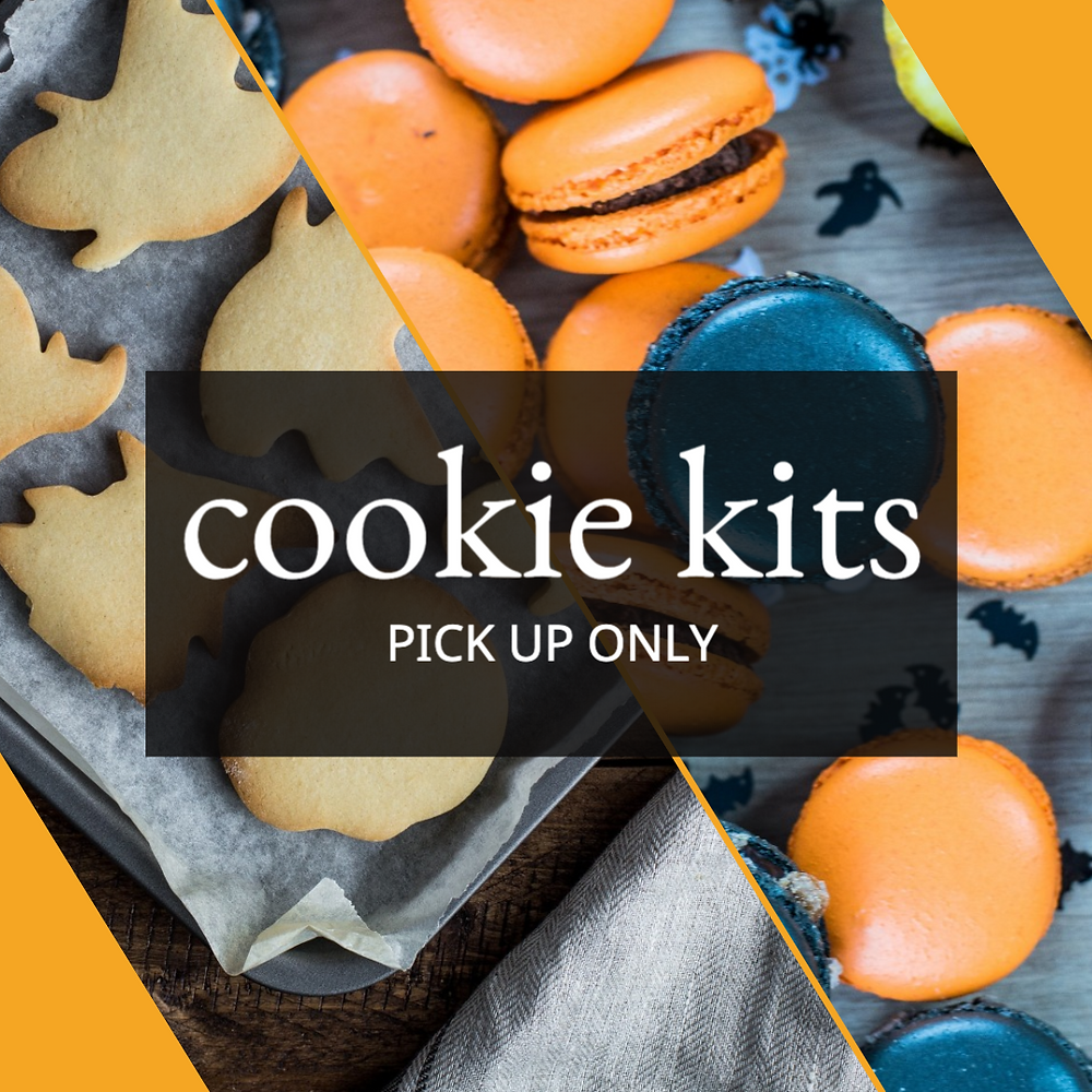 Halloween ghost cookies and orange and black macarons in a cookie kit social media post