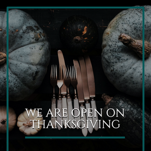 Thanksgiving social media post template for restaurants and bars in the food and beverage industry with pumpkins and cutlery