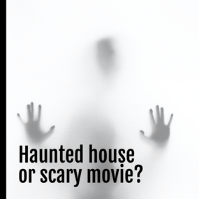 Scary shadow Halloween social media post template asking haunted house or scary movie