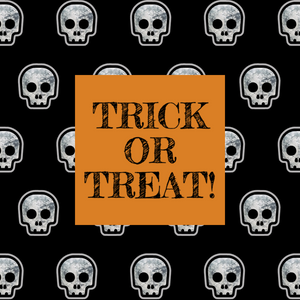 Orange and black Halloween trick or treat social media template with skulls