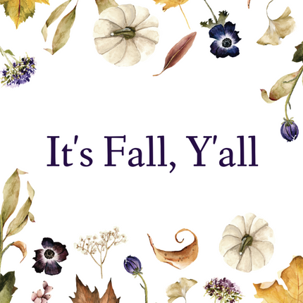 Fall social media template with autumn leaves, dried flowers, and pumpkins on a white background