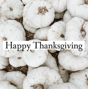 Happy Thanksgiving social media post template with white pumpkins on hay field