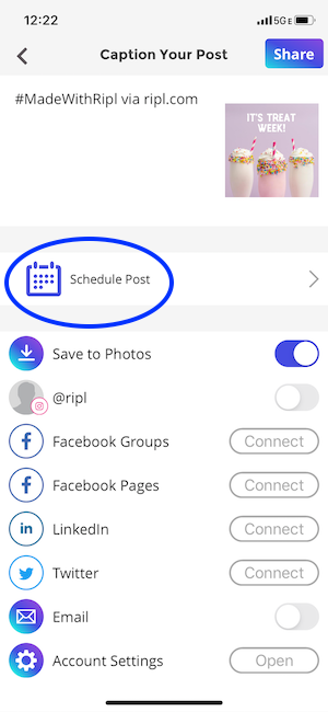 Scheduling your social media post in the Ripl app