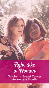 Fight like a woman story post template for Breast Cancer Awareness Month with two women