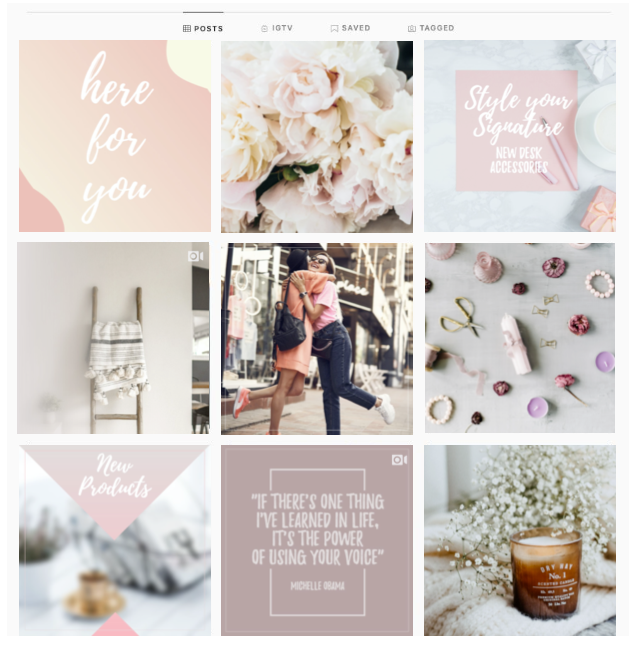 An example of a diversified Instagram feed for a boutique or retail shop with boho chic brand colors and a mix of different content types