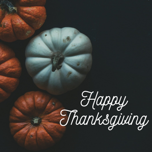 Happy Thanksgiving template for social media with orange and white pumpkins on a dark background