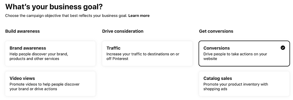 Campaign goal options in Pinterest ads