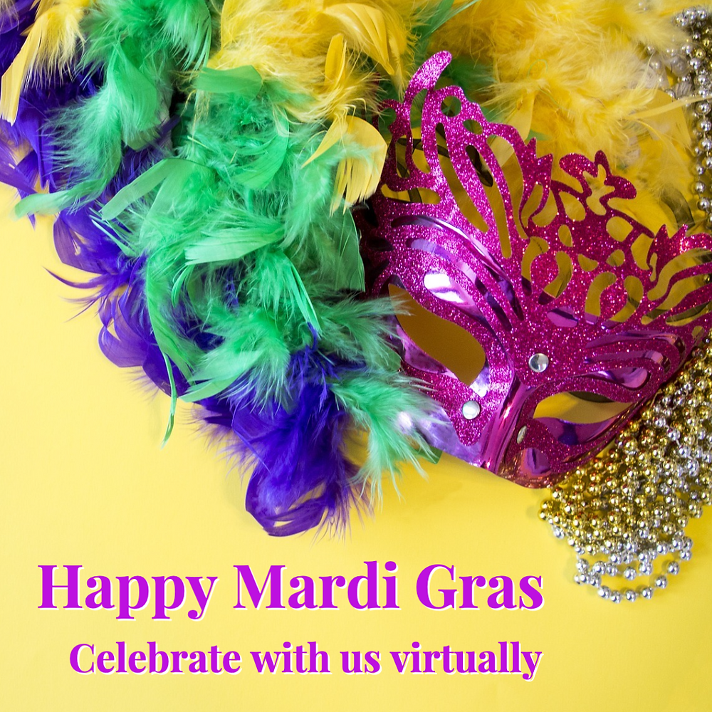 Mardi Gras social media post template with colorful masks on a yellow background