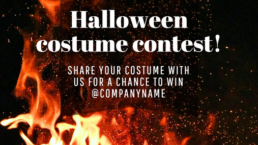 Social media post template for Halloween with crackling fire