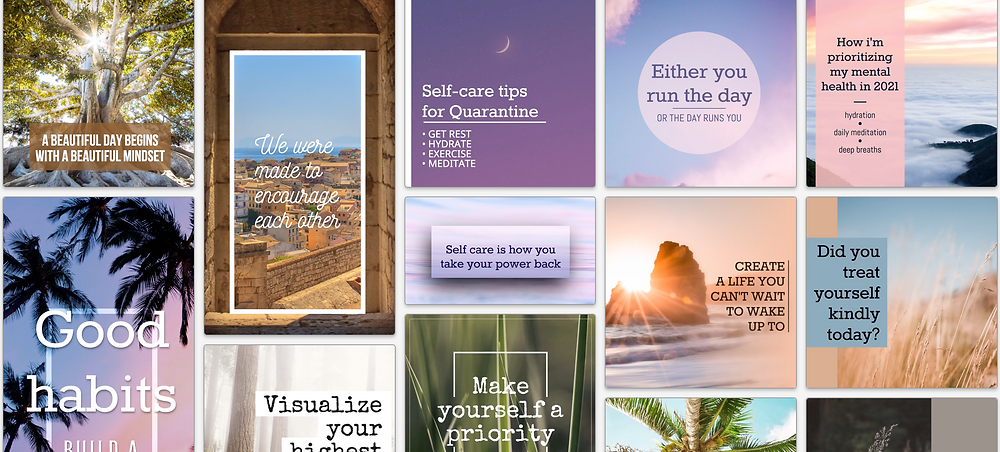 Self care social media post template collection with messages about self-care and wellness