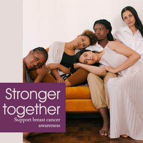 Stronger together women social media post template for Breast Cancer Awareness month
