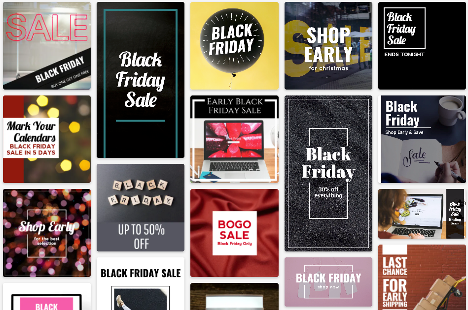 Black Friday social media post template collection with black, gold, pink, and red templates