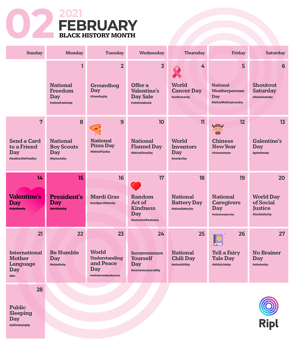 February 2021 social media holiday content calendar for small businesses