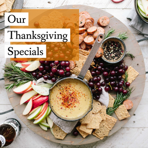 Thanksgiving specials post template with cheese and charcuterie on a cheese board for autumn