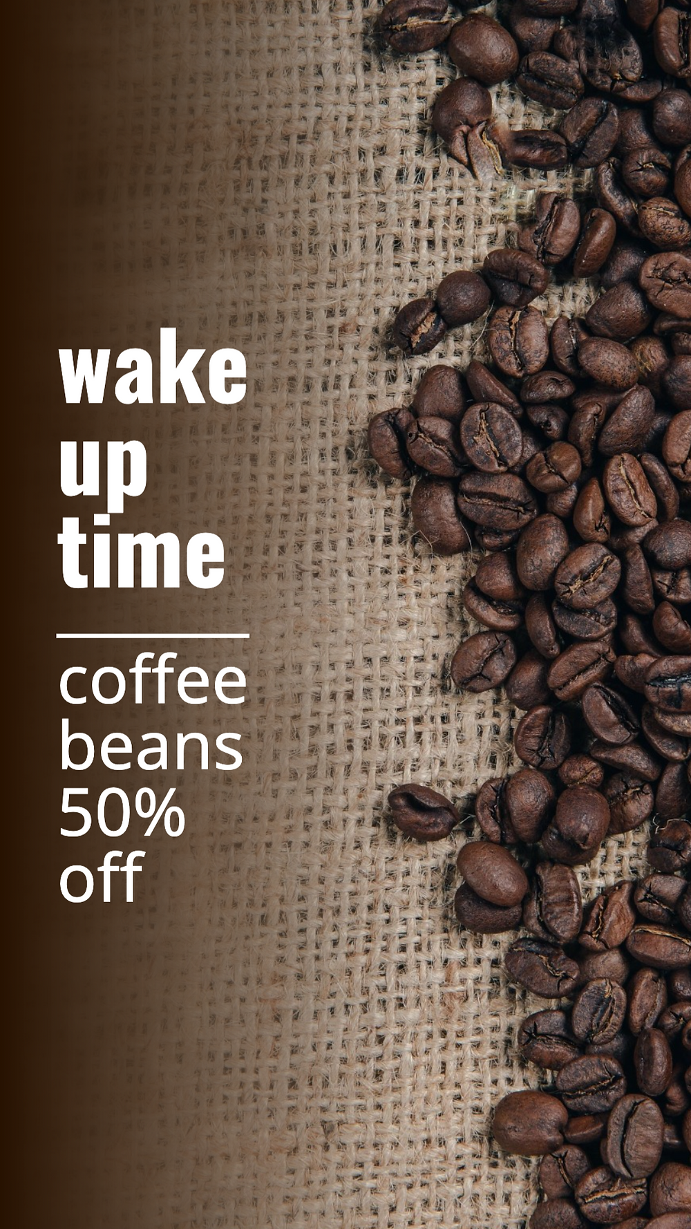 Wake up time coffee bean social media story template