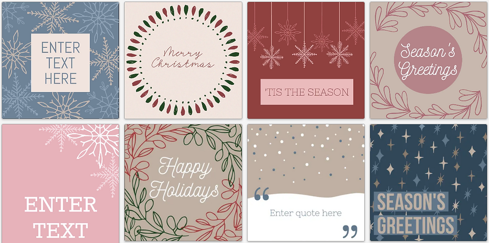Holiday illustrations social media post templates for Christmas
