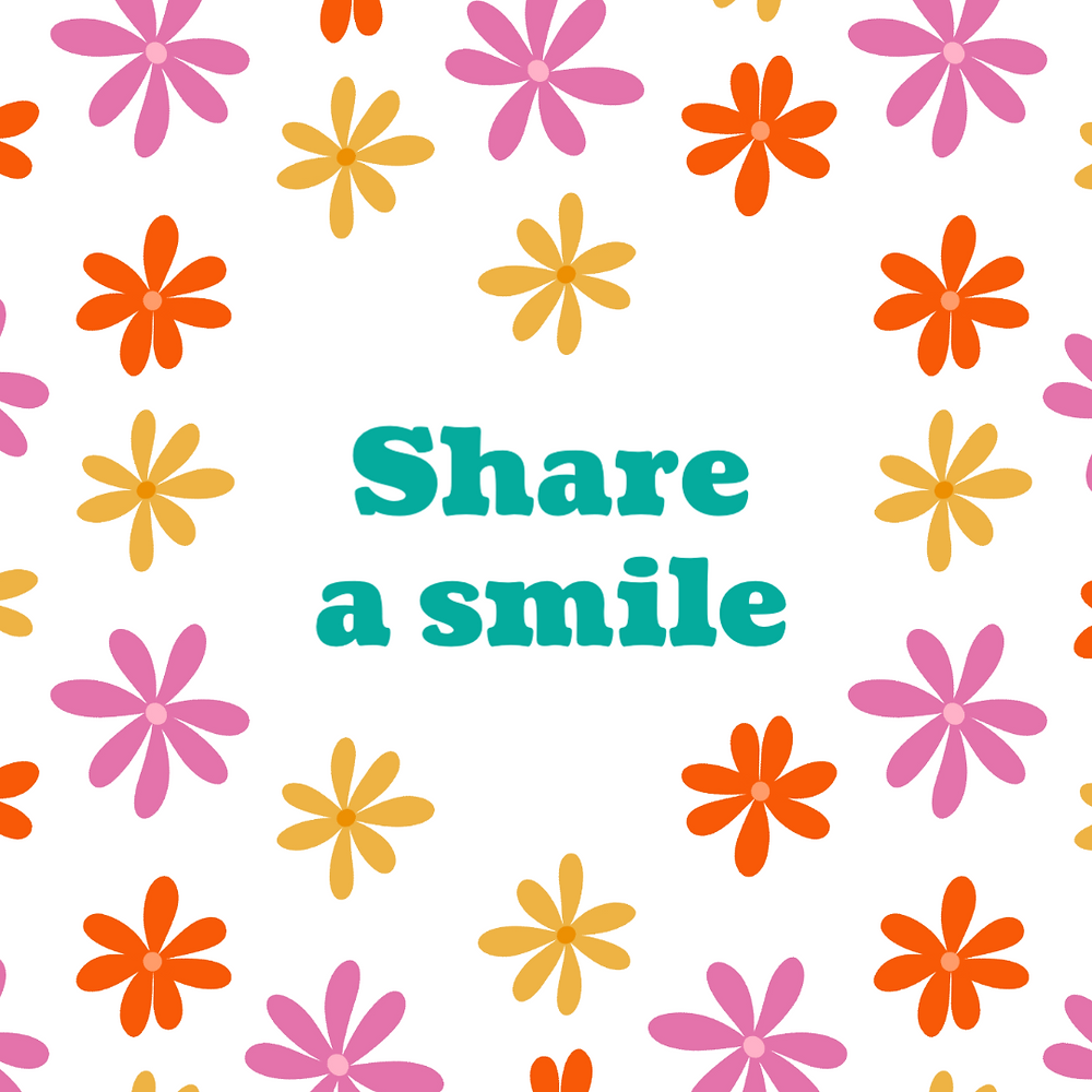 Share a smile social media post template with multi colored flower design